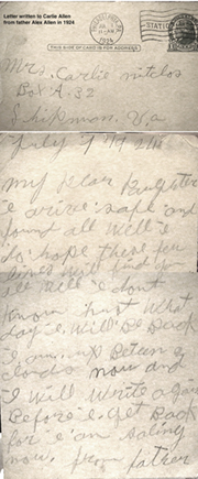 Alex Allen' letter to his daughter Carlie, in 1924