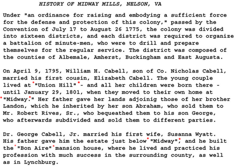 from the book The Cabells and Their Kin - History of Midway Mills, Liberty Hall, and the Swan Creek Plantation - Wingina, Nelson, VA