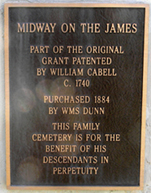 Dr. William Cabell wall plaque at Midway Mills, Nelson County, Virginia