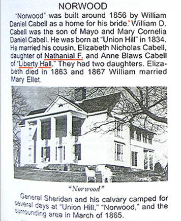 Brief history of Norwood, Nelson, VA showing William Daniel Cabell - Mayo Cabell - Nathaniel Francis Cabell
