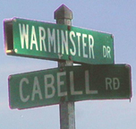 Warminster Drive and Cabell Rd. street sign - Wingina, Nelson, Virginia