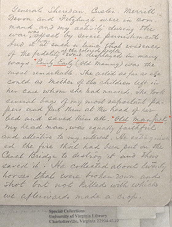 diary page of William Daniel Cabell at Liberty Hall on the Swan Creek Plantation in Nelson County, VA