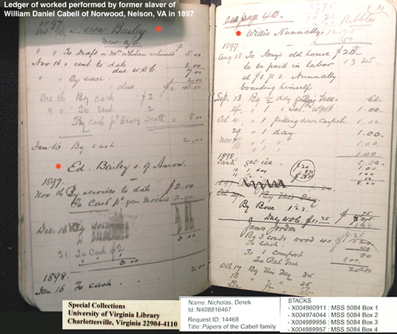 William Daniel Cabell - Brown and Cabell store ledger