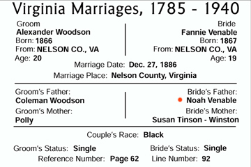 marriage of Alex Woodson and Fannie Venable - Midway Mills, Nelson, VA
