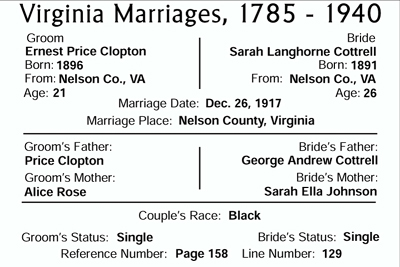 marriage of Sarah Elizabeth Langhorne Cottrell and Ernest Price Clopton