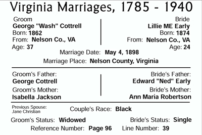 marriage of Wash Cottrell and Lillie Early