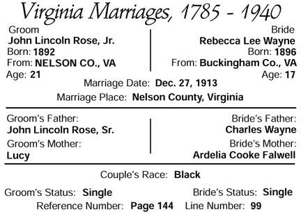 marriage of John Lincoln Rose and Rebecca Lee Wayne of Wingina, Nelson, VA